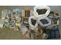 Job lot of frame fixings, hammer fixings, cut clasp nails, expanding bolts, twist nails, see pics