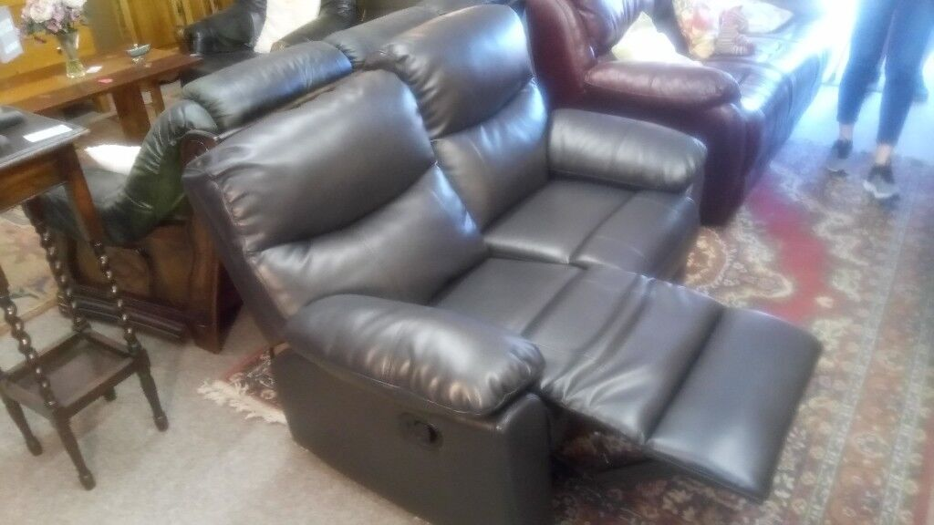 Divano, 2 seater black leather recliner. CHEAP local DELIVERY ...