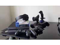 Sony Playstation 4 1TB + 2 Controllers + 4 Games + Thrustmaster HOTAS 4 + Wireless Headset