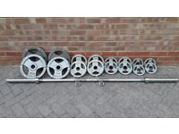 OLYMPIC WEIGHTS SET WITH 7FT or 6FT BAR