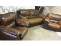 Dark brown 3 piece sofa set