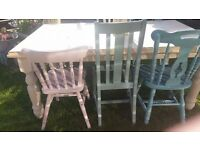 Solid Wood Table and Chairs farmhouse Style