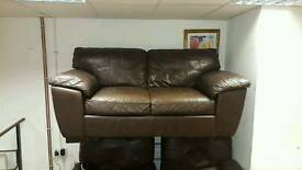 2 seater sofa in proper hyde brown leather £125 delivered