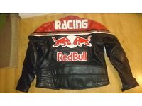 Red Bull full leather men's motorbike jacket, back and elbow padding. XXL 2XL
