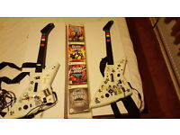Xbox 360 2 wired guitar hero guitars with 4 games