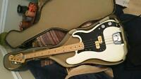 Older black and white El Degas Electric Bass Guitar and Amp