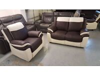 Ex Display BRANDED LEO BROWN & WHITE LEATHER 2 SEATER SOFA & ARMCHAIR Can Deliver