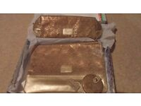 Brand new Laura Ashley matching bag set of 3 items for costmetics etc - beige and gold