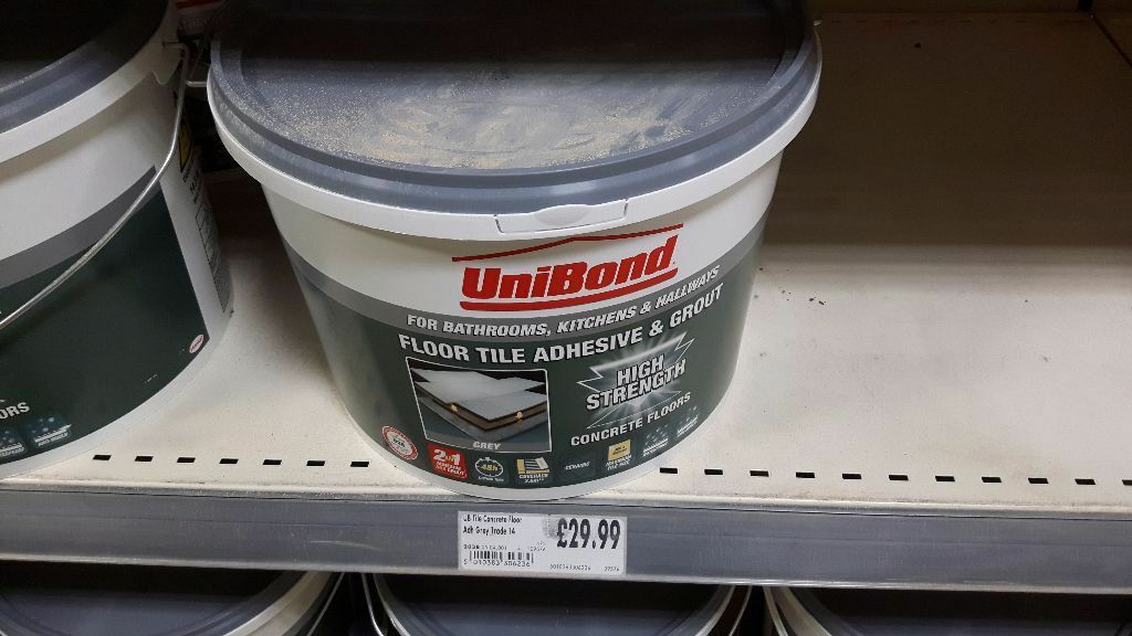 Unibond Ready Mixed Floor Tile Adhesive And Groutgrey 143 Kgtub