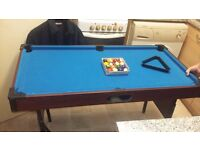 a pool table and balls but no ques