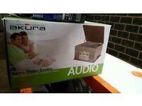 Brand New Boxed Akura Retro Music Centre Antique Wood Turntable CD Cassette Radio