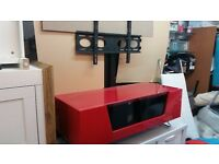 TV stand in red with bracket