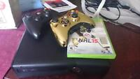xbox 360, 2 controllers and game
