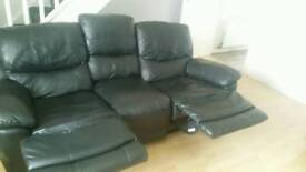 3 seater Italian Leather recliner sofa worth 1500 plus 2 seater normal leather settee