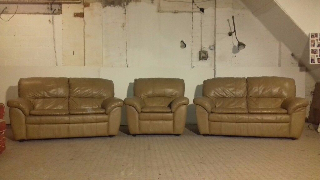 Two 2 Seater & Chair Light Brown Leather Sofa - DELIVERY AVAILABLE