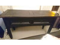 Black painted 2 drawer console