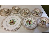 Newtown English 22 KT Gold Fine Bone China Tea Set & Cake Plates