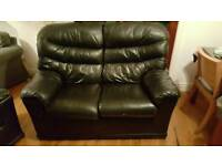 Leather 2 seater sofa and armchair