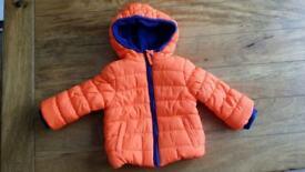 Mothercare Boys Orange Padded Coat 6-9 months