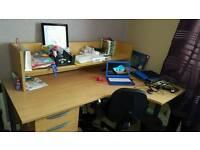 Large solid wooden corner computer / office desk with large riser
