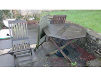 Patio/garden wooden table and chairs