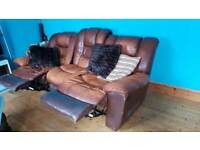 2 seater and 3 seater leather recliners