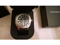 Emporio Armani AR6057 Sportivo black leather watch- BN with tag, authenticity certificate,box Gift