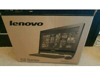 Lenovo C260 All in one pc desktop computer with white HP printer