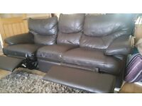 BROWN LEATHER EFFECT SOFA