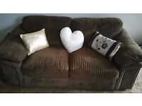 LOVELY VERY COMFY 6 MONTH OLD CORD SOFA FOR SALE.