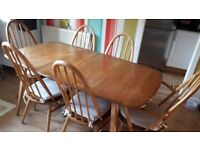 Vintage/retro 1960s Ercol table, 2 chairs and 2 carver chairs