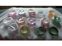 14 SET OF ASSORTED COLOURS GLASS BRACELETS BANGLES SIZE SMALL