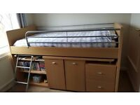 Childs Cabin Sleeper Bed for Sale in Good Condition. Great Integral Storage and Large Desk