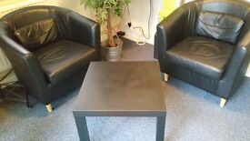 Leather effect tub chairs x 2 chairs