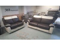 NEW ScS LEO BROWN & WHITE LEATHER 3 + 2 SEATER SOFAS **Can Deliver**