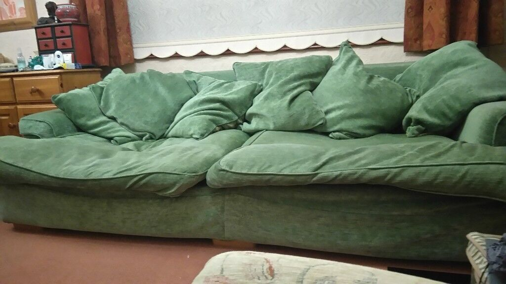 7 Feet Long Chenille Sofa With Feather Filled Cushions And