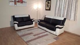 Ex-display Leo black and white leather 3+2 seater sofas