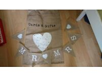 Hessian wedding bunting and card/gift sack