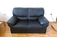 2 x 2 seater charcoal faux leather sofas