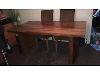 Indian oak solid wood dining table