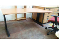Office desk with fitted plug sockets