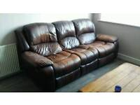 Leather brown 3 & 2 seater recliner sofas