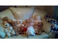 15 build a bear/bear factory teddies