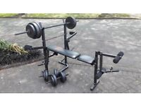 WEIGHTS BENCH WITH 50KG & LONG BAR & DUMBBELLS