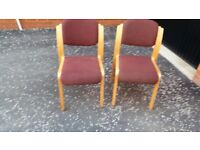 Burgundy textile upholstered chairs