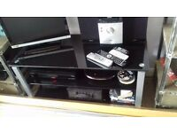 Black Glass Stainless Steel 2 Shelf TV Stand/Entertainment Unit