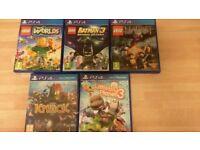 5 PS4 KIDS GAMES / LEGO WORLDS / BAMAN 3 / HOBBIT / KNACK / LITTLE BIG PLANET 3