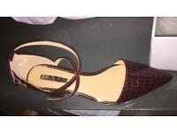 Miss Kg Ava wine Mid Heel court shoes