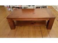 Heavy Solid Dark Wood Coffee Table
