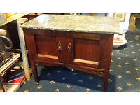 Nice Early 20th Century Oak Stained Washstand with Marble Top on castors